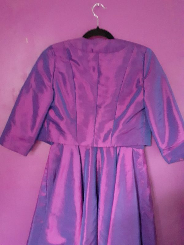 Purple taffeta hang back- jenny dixon- jennydixoncouture.com